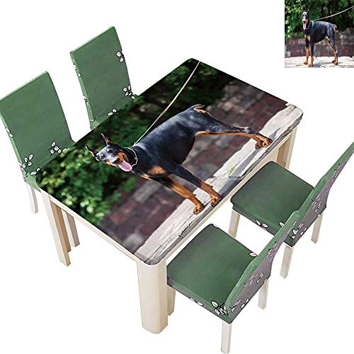 Natural Tablecloth The Doberman Pinscher,a Good Guard Dogs,This is an Adult Female Dog for Home Use, Machine Washable 50 x 102 Inch (Elastic Edge)
