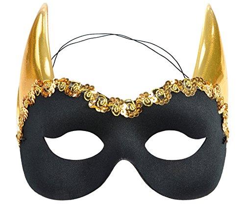 Costumes Italy Carnevale (Black Devil Mask Gold Horns Italy Mardi Gras Masquerade Unisex Costume)