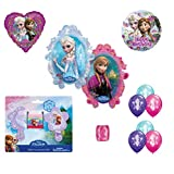 Disney's Frozen Anna Elsa Balloons, Comb, Mirror & Hair Ponies Birthday Set