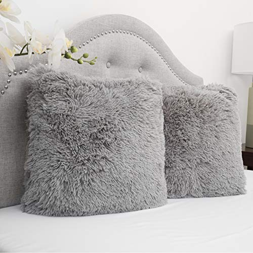 Fur Silver (Sweet Home Collection 2Pk Plush pillow Faux Fur - Soft and Comfy Throw pillow - Silver)
