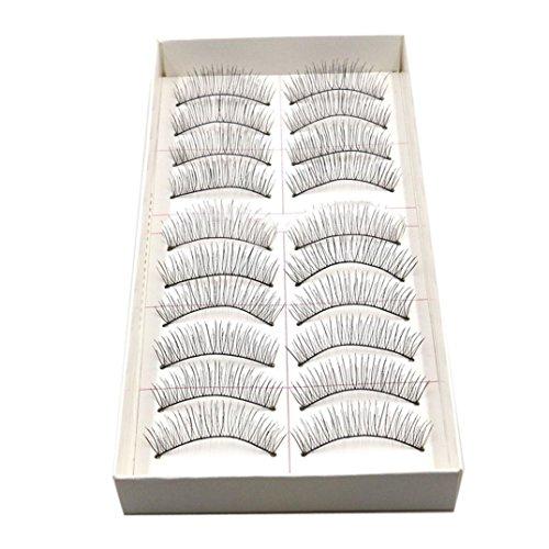 Binmer(TM)New 10 Pairs Handmade Long Thick Black False Eyelashes Charming Eye Lashes Makeup Cosmetic