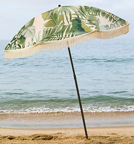 beachBRELLA Beach Umbrella, with Fringe and Shoulder Strap Bag, 100% UV Sun Protection, Lightweight, Portable & Easy to Setup in The Sand and Secure in The Wind (Beverly)