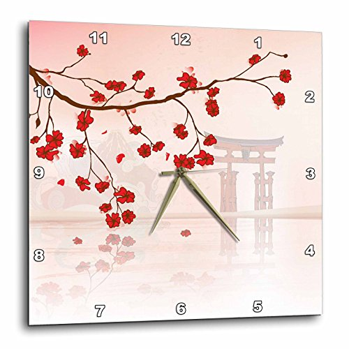 3dRose dpp_78460_3 Pretty Cherry Blossoms Against a Peaceful Oriental Scene Wall Clock, 15 by 15-Inch
