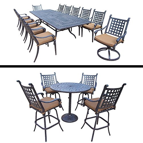 Oakland Living Plymouth Premier Set with 5 Pc Bar Set, 11 Pc Dining Set with Extendable Table and Sunbrella Cushions (Bar Plymouth)