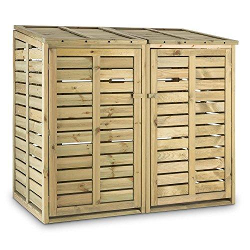 Waldbeck Ordnungshüter Mülltonnenbox kiefer 2 Tonnen Mülltonnenverkleidung aus Kiefernholz (240 l, Hebekette, FSC-zertifiziert) braun