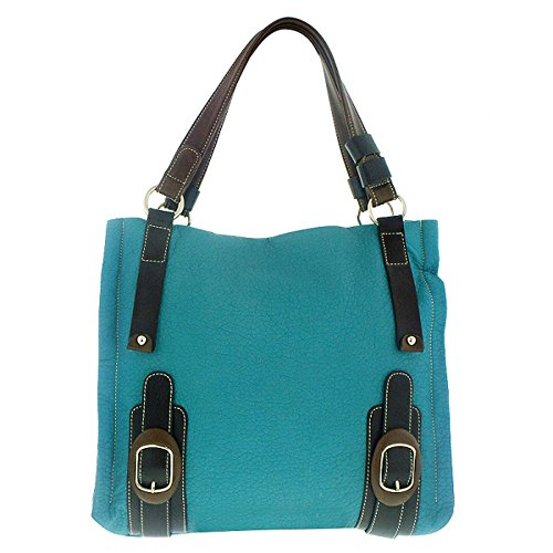 Melie Bianco Handbag Tote (Melie Bianco Eden Double Bottom Buckle Tote (Turquoise))