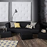 Jaxx Zipline Denim Convertible Sleeper Sofa & Ottomans, Black