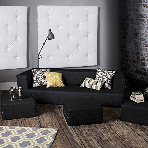 Jaxx Zipline Denim Convertible Sleeper Sofa & Ottomans, Black