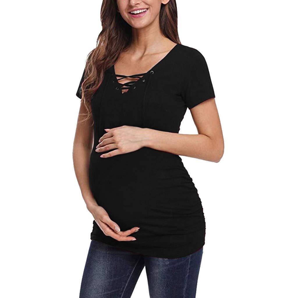 Damen Umstands Shirt V Ausschnitt Umstandsshirt Umstandsmode T-Shirt Schwangerschaft//T-Shirt Kurzarm Schwangerschaftsshirt Mutterschaft Still-Shirt//Umstandstop mit Stillfunktion