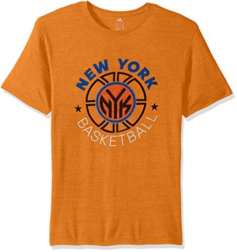 fan products of NBA New York Knicks Men's Double Dribble Tri-Blend Short Sleeve Tee, Orange, Medium