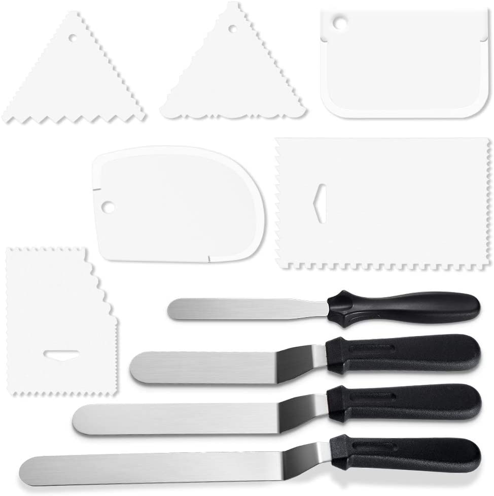 WisFox Winkelpalette Edelstahl Streichpaletten 4-Teiliges Kuchenmesser Tortenmesser Icing Spate mit 1 Gerade Spatel 3 abgewinkelt f/ür Torte Geb/äck Muffins,Backen