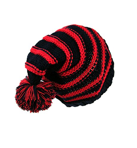 (Sumolux Christmas Hat Warm Knitted Pom Stripe Cuff Beanie Stocking Cap For Kids Adult Autumn)