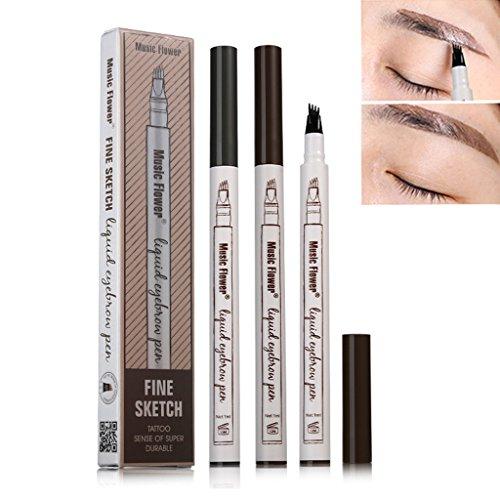EA-STONE Music Flower Eyebrow Pen,Eyebrow Long Lasting Tint Dye Cream,Waterproof,Smudge-proof (02 Brown)