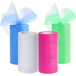 Drhob 4 Colors Tulle Netting Rolls Bolt Fabric Ribbons 6 x 900 Inch by 25 Yards Spool for Bow Tutu Skirt DIY Craft Sewing Gift Wrapping Clothes Wedding Decoration - Pink, Green, White, and Blue