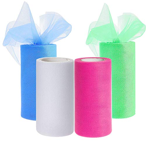 Drhob 4 Colors Tulle Netting Rolls Bolt Fabric Ribbons 6 x 900 Inch by 25 Yards Spool for Bow Tutu Skirt DIY Craft Sewing Gift Wrapping Clothes Wedding Decoration - Pink, Green, White, and Blue ()