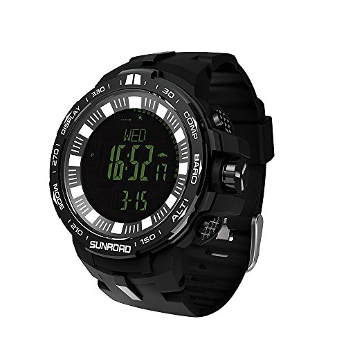 SUNROAD Waterproof Men Climbing Sports Outdoor Altimeter Barometer Digital Watch with Swiss Sensor Fishing Barometer Compass Thermometer Sunrise-Sunset Time Weather Forecast Wristwatch