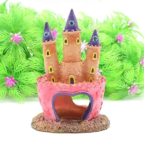 Morza Acuario Rosa Castillo de la Princesa Pescado Cueva decoraci/ón del Ornamento del Tanque de Peces