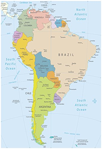 South America-Highly Detailed Map Poster by ekler 13 - Maps South America
