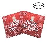 BESTOYARD Happy New Year Printed Napkin Wood Pulp Colorful Party Napkin Restaurant Decoration 100pcs