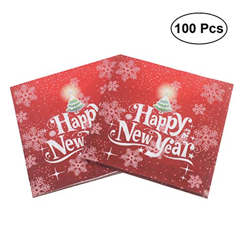BESTOYARD Happy New Year Printed Napkin Wood Pulp Colorful Party Napkin Restaurant Decoration 100pcs by BESTOYARD (Image #9)