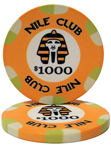 - 25 $1,000 Nile Club 10 Gram Ceramic Casino Quality Poker Chips