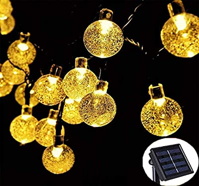 Nasharia 60 LEDs Solar Globe String Lights, 36FT Bubble Crystal Ball Fairy Lights Waterproof Outdoor Decorative String Lights for Garden Courtyard Home Patio Lawn Party Holiday,8 Modes and Warm White