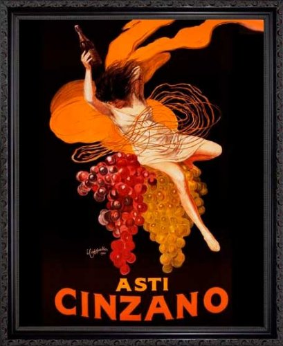 Asti Cinzano, с. 1920 by Leonetto Cappiello. Vintage Advertising Poster Reproduction. Framed (18 1/8