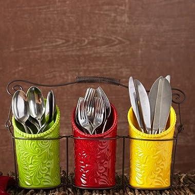 iEnjoyware Kitchen Utensil Holder Set (4 Pieces) - 3 Ceramic Crocks & 1 Portable Wire Caddy - Multi-Color