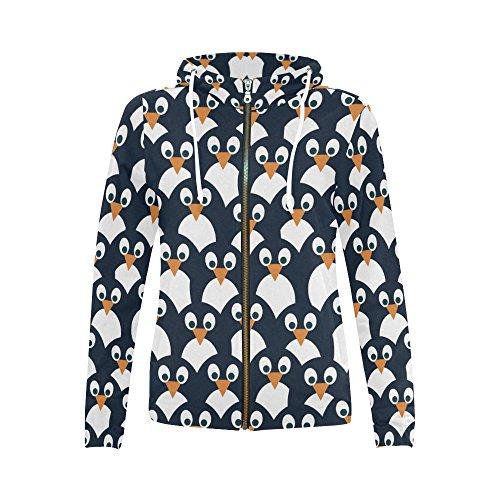 InterestPrint Penguin Pattern Print Full Zip Hoodie Sweatshirt for Women Penguin Pattern X-Small (Penguin Hoodie Up Zip)