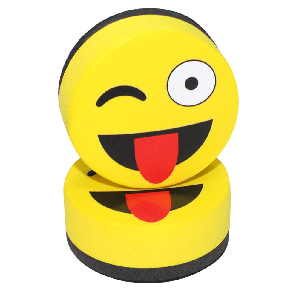 Eraser Whiteboard Magnetic Smiley Face Circular 2'' Eraser - Teaching Supplies Prime Dry Erase Accessories Felt Dry Eraser (Yellow) by RSVLEISI (Image #4)