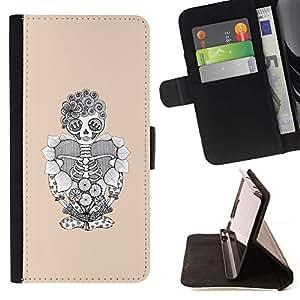 Momo Phone Case / Flip Funda de Cuero Case Cover - Cráneo floral divertido Esqueleto de Halloween - Samsung Galaxy J3 GSM-J300