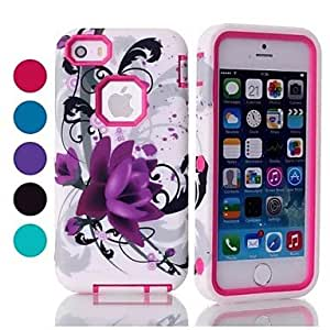SOL Hot Selling Lotus Blossom Pattern Tough Armor PC and TPU Mobile Phone Case for iPhone 5C (Assorted Colors) , Green