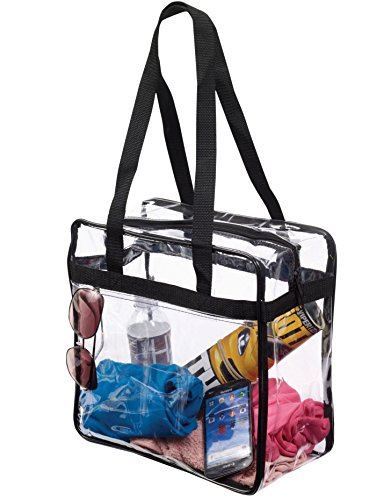 Clear 12 x 12 x 6 NFL Stadium Tote Bag with Side Pocket and Shoulder Straps