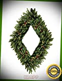 KARPP 48'' Camdon Fir Diamond Shaped Artificial Christmas Wreath Multi Lights - Front Door Premium Ornament - Christmass Decor