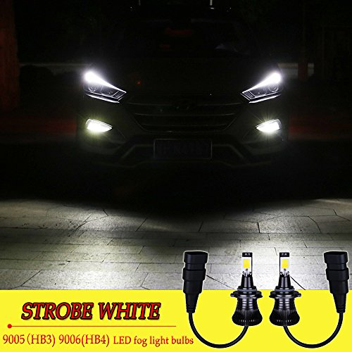 9006 9005 HB4 HB3 Bulb LED Fog Lights White 6000K Strobe Flicker Daytime Running Lights DRL Lamps for Trucks Cars Kit Plug Replacement Bulbs 12V 30W 2800LM Super Bright COB Chips 1 Year Warranty【1797】