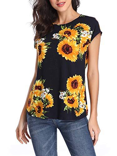 TORARY Women Sunflower Shirt Boho Tops Short Sleeves Boatneck Casual Elegant Blouses