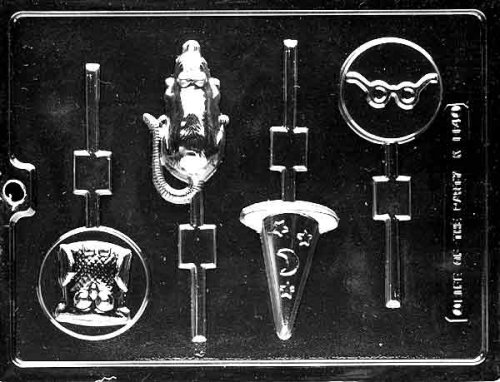 Cybrtrayd Life of the Party K114 Wizard Rat, Owl, Glasses, Sorceror's Witch Hat Lolly Chocolate Candy Mold in Sealed Protective Poly Bag Imprinted with Copyrighted Cybrtrayd Molding Instructions
