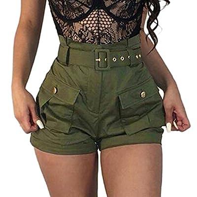 Pervobs Women Shorts Big Women Summer Pockets Wide-Leg Flat Green Shorts Dungarees Overalls with Belt from Pervobs