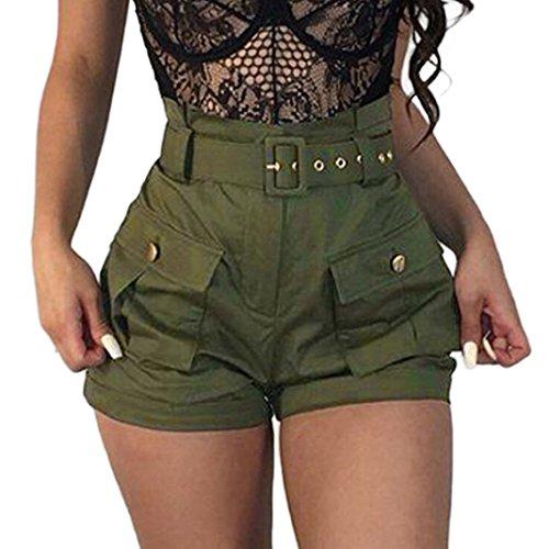 (Pervobs Women Shorts Big Promotion! Women Summer Pockets Wide-Leg Flat Green Shorts Dungarees Overalls with Belt (XL, Green))