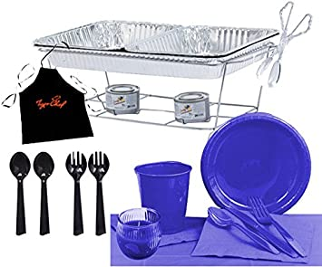 Tiger Chef Party Chafer Set Food Warmers and Party Dishes Serves 24 Rectangle Tablecloth, Blue