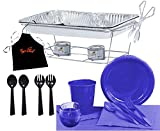 Tiger Chef Party Chafer Set Food Warmers and Party Dishes Serves 24 (Round Tablecloth, Blue)