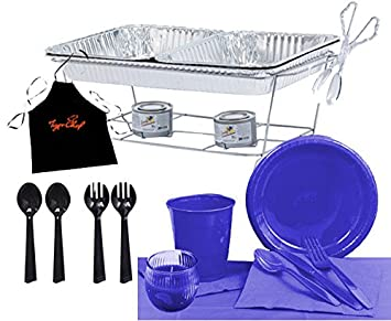 Tiger Chef Party Chafer Set Food Warmers and Party Dishes Serves 24 Round Tablecloth, Blue