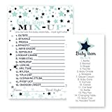 Star Baby Shower Word Scramble Game Cards- Navy and Grey - Set of 25