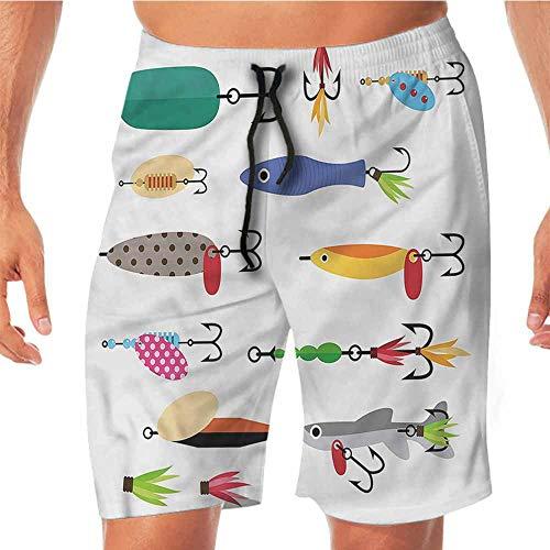ScottDecor Quick-Dry Beach Board Shorts Fishing,Stinger Net and Worms Swim Shorts Men XXL