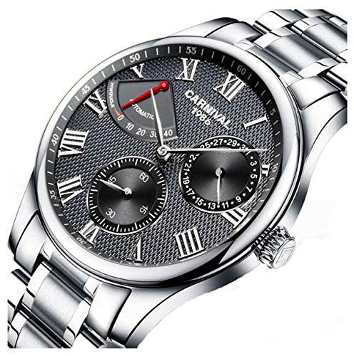 Mens Power Reserve Display Automatic Mechanical Watches Full Stainless Steel Waterproof Swiss Watches (Silver ()
