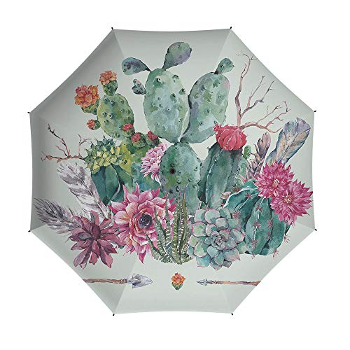 Travel Umbrella,Cactus Decor,8 Ribs Finest Windproof Umbrella with Teflon Coating, Auto Open Close and Upgraded Comfort Handle 42 Inch,Spring Garden with Boho Style Bouquet of Thorny Plants Blooms Ar