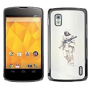 Shell-Star Arte & diseño plástico duro Fundas Cover Cubre Hard Case Cover para LG Google NEXUS 4 / Mako / E960 ( Warrior Machine Gun Sci Fi Death )