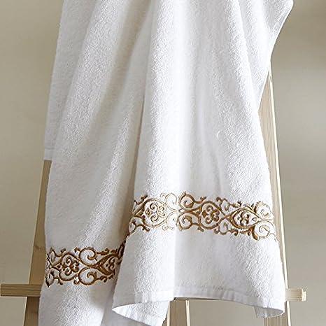 juego de toallas algodón egipcio Toallas de baño de algodón, machos y hembras adultos parejas envuelto toallas suaves y absorbentes,hilo de bordar de oro: ...
