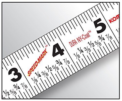 Komelon-SM5425-Speed-Mark-Gripper-Acrylic-Coated-Steel-Blade-Measuring-Tape-1-Inch-X-25Ft-White-2-Pack