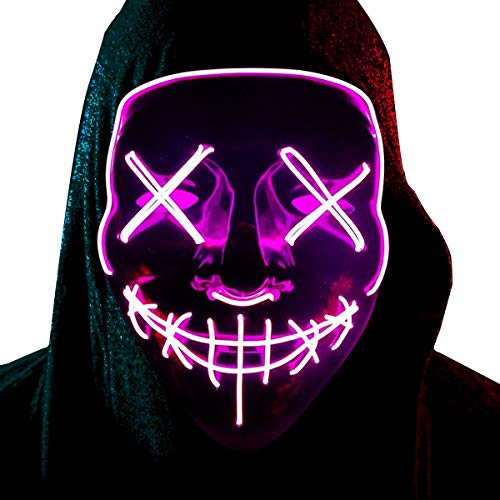 Halloween LED Masks Light up Mask Scary Light Mask Cosplay Led Costume Glow in The Dark Party Supplies